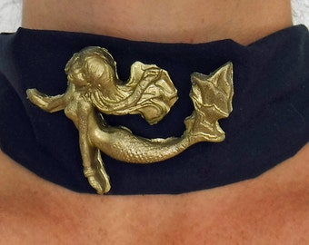 Mermaid choker - wide statement necklace in cotton fabric with hand-molded mermaid figure. Customize your mermaid choker.