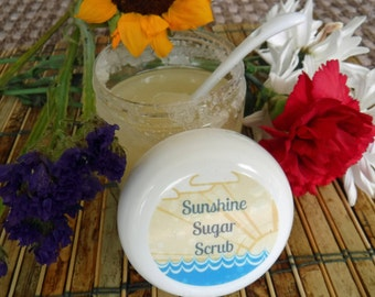 Sugar or salt scrub -- smells like sunshine! Scrub exfoliates hands or body and leaves you smelling sunny and fresh