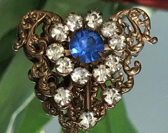 Vintage copper rhinestone sapphire heart brooch