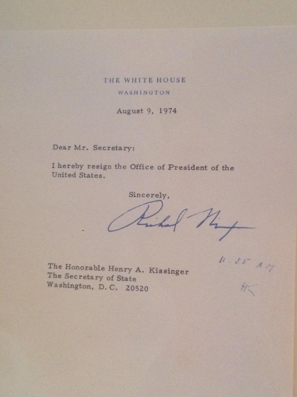 Souvenir Richard Nixon Resignation Letter 1974 Etsy