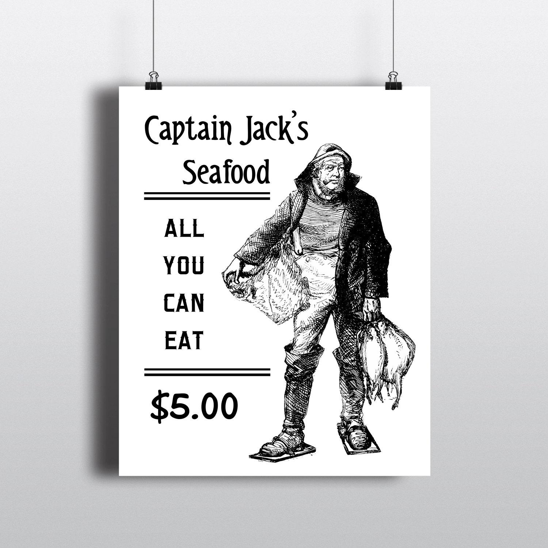 Ilustración de pescador vintage capitán de mar de lámina | Etsy