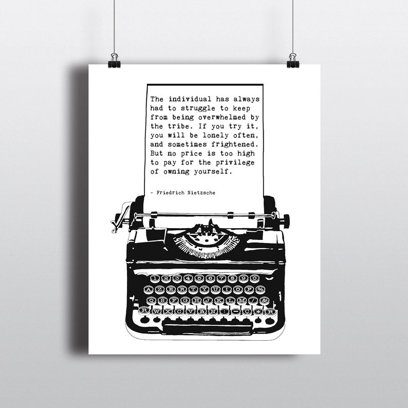 Friedrich Nietzsche Individuality Quote Vintage Typewriter Etsy