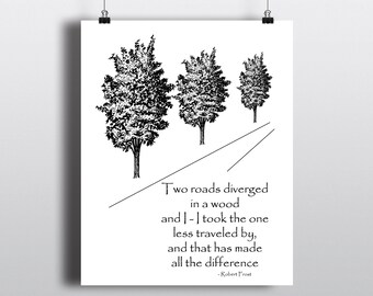 Robert Frost Quote Print, The Road Not Taken, Tree Illustration, Outdoorsy Art Print, Literary Poster, 8x10 Printable Wall Art