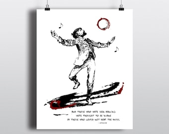 Friedrich Nietzsche Quote Print, Dancing Man Illustration, Musical Quote, Literary Wall Art, Instant Digital Download
