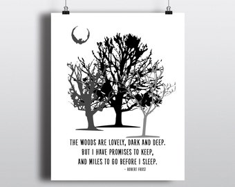Robert Frost Quote Print, Modern Tree Art, Miles To Go Before I Sleep Quote, Black & White Nature Poster, Printable Art, Digital Art