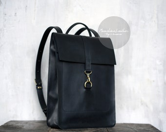 da9299f4f7 Leather BACKPACK Black backpack Women leather backpack Mens backpack  Minimalist backpack Laptop bag purse Backpack women Hipster backpack