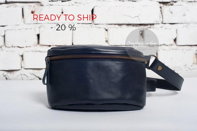 4c1f1df2c0a90 SALE BLUE fanny pack Leather crossbody Hip bag Mens belt bag