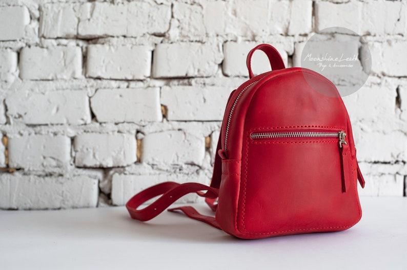c32788ade490 Mini leather backpack Handmade backpack Vintage backpack