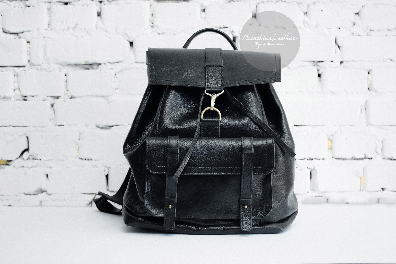 fb72f0086380 BLACK backpack Leather backpack Travel backpack Large backpack