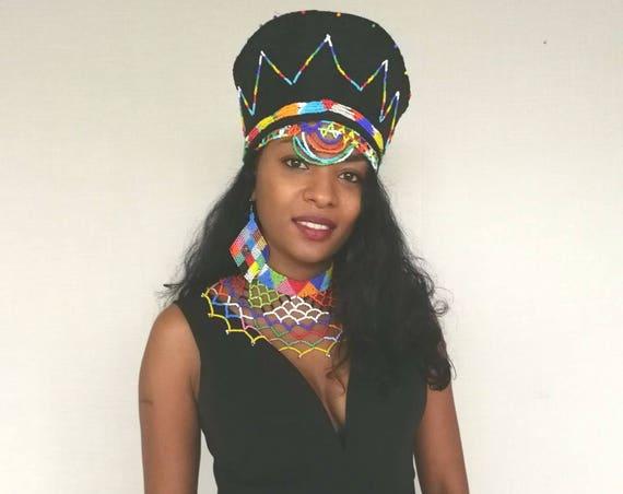 Goddes Zulu beaded hat + beaded headband