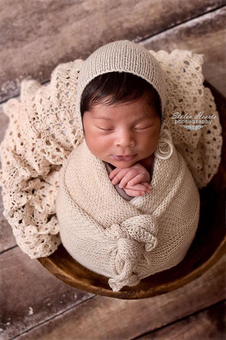 7354e5fc9e0 Newborn Wrap and Bonnet Set Knit Wrap Newborn Photo Prop