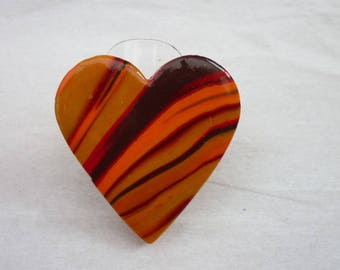 Brown orange heart ring polymer clay