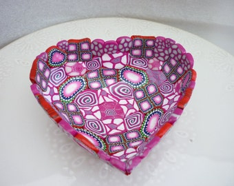 handmade bowl, cup, polymer clay, unic piece , pink and fuchsia