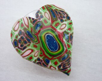Multicolored heart ring polymer clay