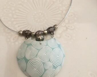 Necklace light blue  polymer pendant