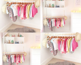 70cm Wooden beads childrenu0027s clothes rail/rack. Great storage solution and perfect to showcase your childs beautiful clothes & Clothes rail   Etsy