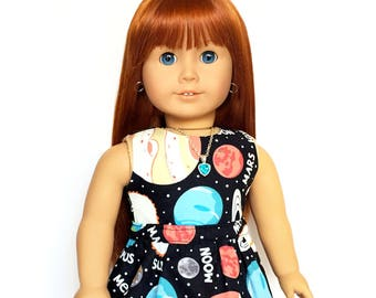 Flare Skirt, Galaxy, Universe, Outer Space, Planets, Black, White, Fits dolls such as American Girl, 18 inch Doll Clothes, GOTY