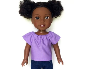 Peasant Top, Lavender, 14.5 inch, Fits dolls such as AG Wellie Wishers Doll Clothes, Free Mini Skirt with the Purchase of 3 WW Peasant Tops