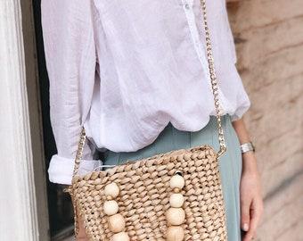 da92935f6b2 Wicker Bag, Straw bag, Straw handbag, Straw basket, Beach bag, Straw tote,  Square bag, Cult Gaia Bag, Summer bag, Basket Bag
