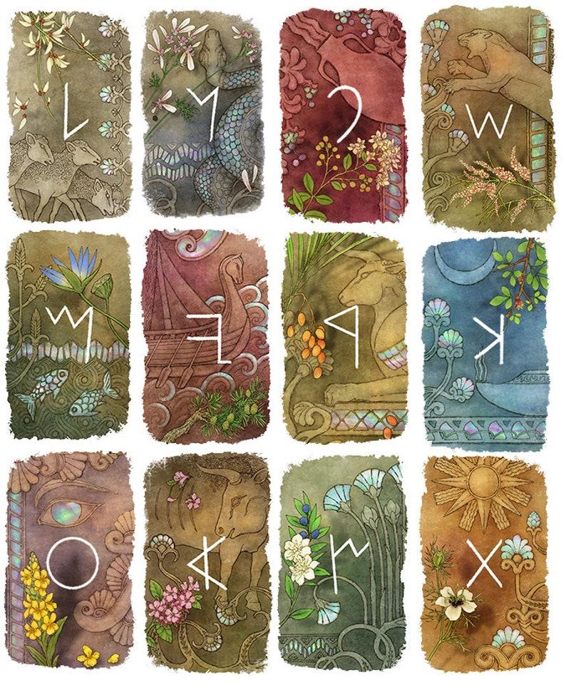 Phoenician alphabet letter art print 5 x 7 earth magic witchcraft runes oracle tarot card LAMEDH