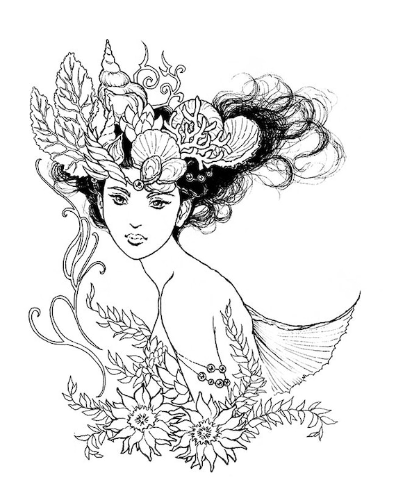 Nereid Mermaid Queen Portrait ink drawing coloring page | Etsy
