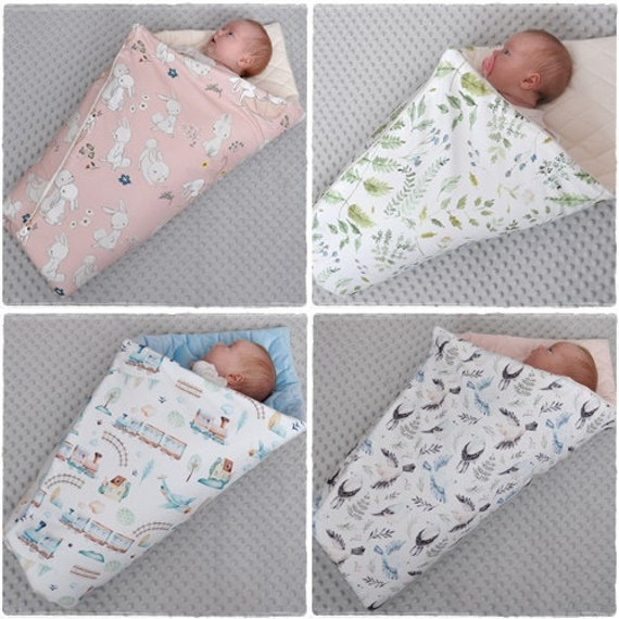 Swaddle Wrap Blanket Sleeping Bag for Newborn baby shower GIFT Minty forest