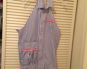 OOAK Apron/repurposed men's shirt/ pink ruffled trim