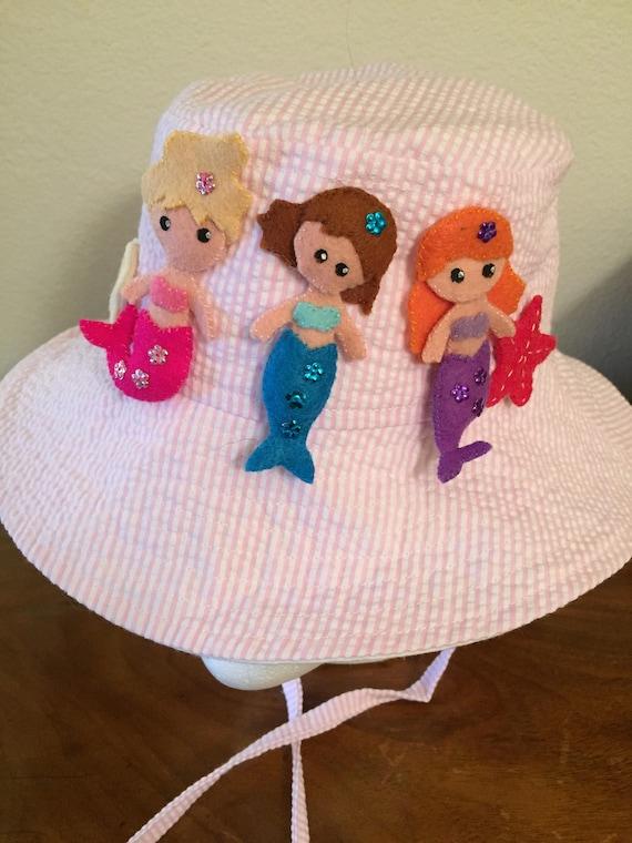 Girls Sunhat Pink Seersucker Fabric Hand Embroidered Etsy