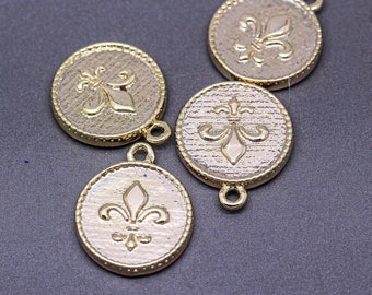 Vintage Coins with Fleur De Lis on Long Brushed Gold Chain