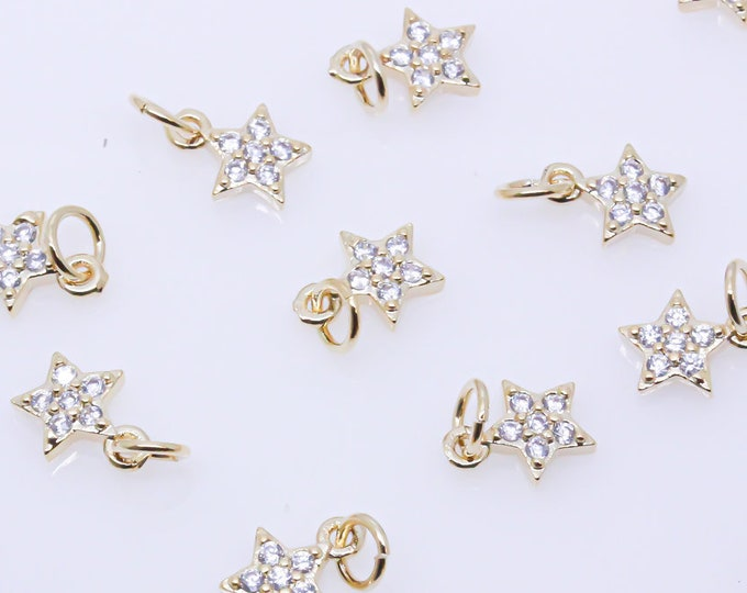 Gold or Silver Tiny Delicate Star Shape Cz Set Charm MP11-10078 5mm Little Danglings WHOLESALE Jewelry Making 1 pc or 10 pcs