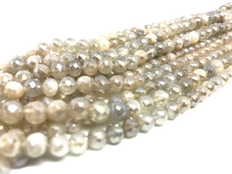 Mystic white moonstone faceted round beads 5.5-6mm 9 inches strand wholesale price