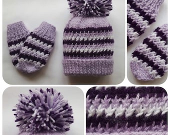 fb5701a1bf9 Hand Knitted Lilac and Purple Baby Hat   Mittens Set with large Pom Pom and  White Glitter Wool • Winter Baby Hat • Baby Shower Gift •