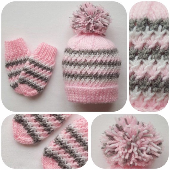 c3ba94a5f4b Hand Knitted Pink White and Grey Baby Hat   Mittens Set with