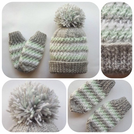 cd3e1937dc7 Hand Knitted Grey and Green Baby Hat   Mittens Set Christmas