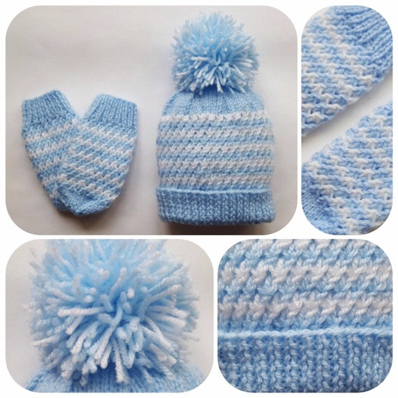 47c863f6b9e Hand Knitted Baby Hat   Mittens Set Blue Baby Hat
