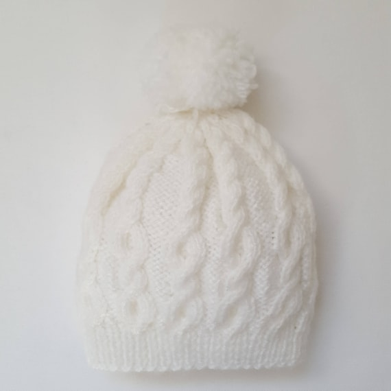 White Hand knitted baby hat