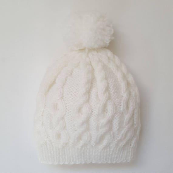 5e713091fda White Hand Knitted Baby Pom Pom Hat Winter Baby Hat White