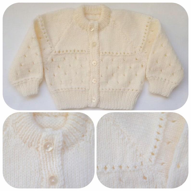 62252e3da913 Cream Hand Knitted Baby Cardigan Baby Shower Gift Unisex