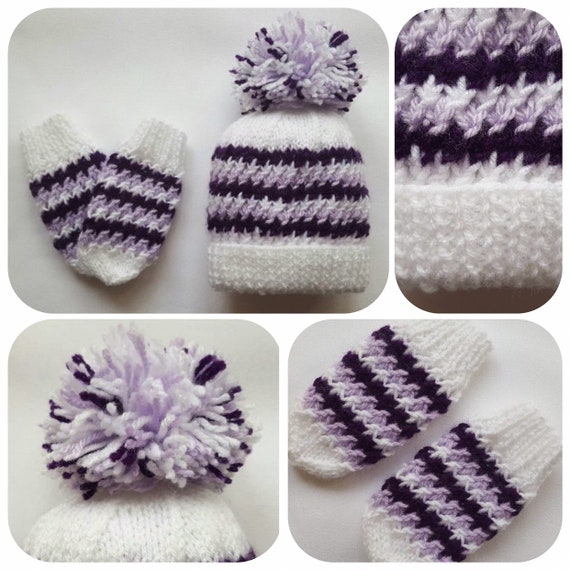 b6fe58a16f8 Hand Knitted White and Purple Baby Hat   Mittens Set with