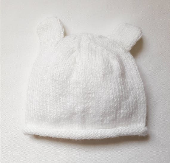 Baby hand knitted pink bonnet new fleece soft fur hat with ears teddy bear prop