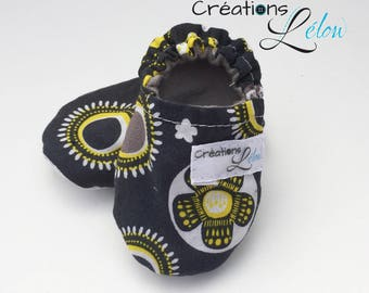 Slippers for BABY/CHILD, cotton loafers for baby or child grey and yellow design