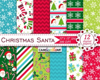 Santa Digital Paper Pack,Christmas Digital Paper,Snowflakes,Gifts, Christmas Tree,Holly,Christmas Stocking,Red and Green,Scrapbooking Paper
