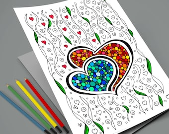 Valentine's Coloring Page or Card - Valentine's gift - Instant Download Printable