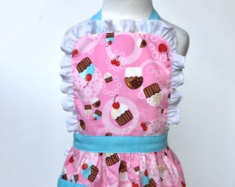Toddler Apron Cupcakes 2-4 Dress Up Kid's Apron