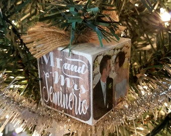 photo block ornaments personalized christmas ornaments christmas tree ornaments wedding ornament country christmas rustic ornament - Country Christmas Tree Ornaments