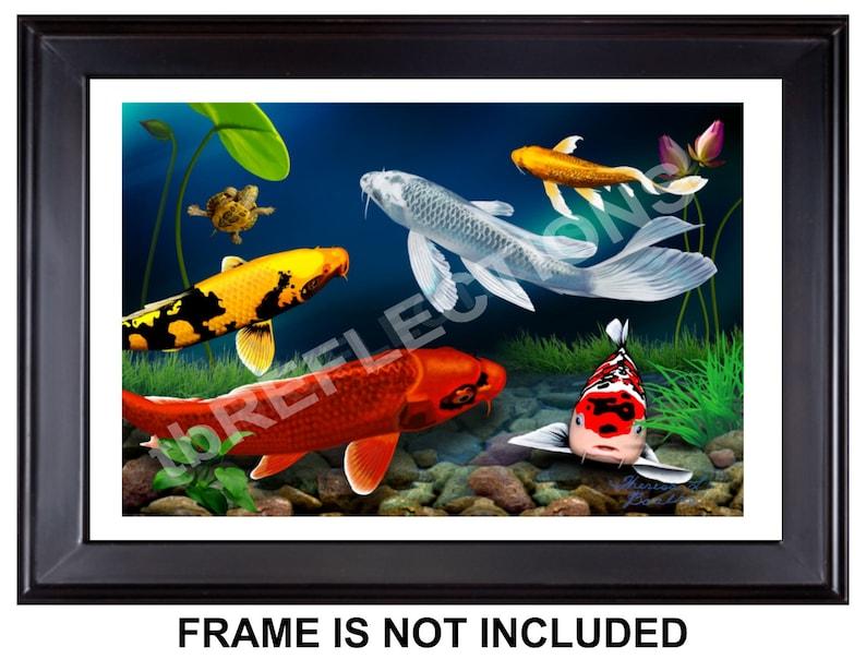 Twilight In Koi Pond >> Free Shipping Koi Fish Giclee Print 18 X 12 Of Etsy