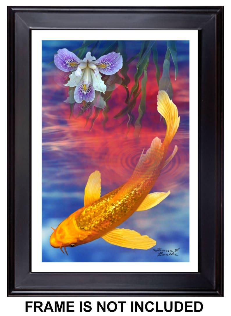 Twilight In Koi Pond >> Free Shipping Koi Fish Giclee Print 12 X 18 Of Etsy