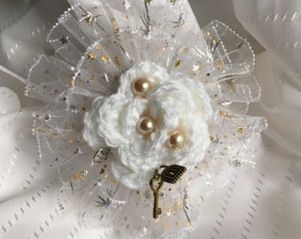 White Crochet Flower and Lace Corsage Handcrafted - Great item for a Wedding or Special Occasion, Beads, Ribbon, Lace