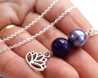 Mothers Day Gift Idea Lotus Necklace Sterling Silver Flower Necklace Purple Pearl Agate Pendant Yoga Meditation Harmony Balance Crown Chakra