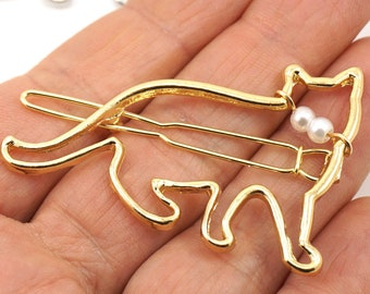 ON VACATION, Silver or Gold Cat Hair Clip, Kitty Hair Pin, Pet Gift, Cat Hair Barrette Minimalist Hair Pin hair accessory